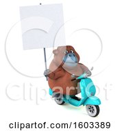 3d Orangutan Monkey Riding A Scooter On A White Background