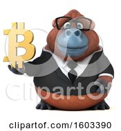 Clipart Of A 3d Business Orangutan Monkey Holding A Bitcoin Symbol On A White Background Royalty Free Illustration