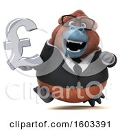 Clipart Of A 3d Business Orangutan Monkey Holding A Lira On A White Background Royalty Free Illustration