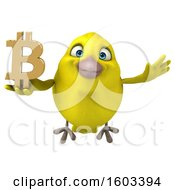 Poster, Art Print Of 3d Yellow Bird Holding A Bitcoin Symbol On A White Background