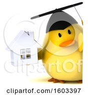 Clipart Of A 3d Yellow Bird Graduate Holding A House On A White Background Royalty Free Illustration
