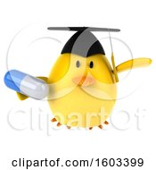 3d Yellow Bird Graduate Holding A Pill On A White Background