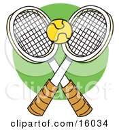 Yellow Tennis Ball Over Two Rackets Clipart Illustration