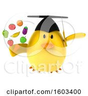 Poster, Art Print Of 3d Yellow Bird Graduate Holding Produce On A White Background