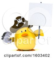 3d Yellow Bird Pirate Holding A Euro On A White Background