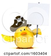 3d Yellow Bird Pirate Holding A Banana On A White Background