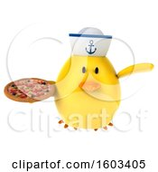 3d Yellow Bird Sailor Holding A Pizza On A White Background