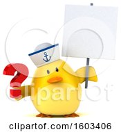 3d Yellow Bird Sailor Holding A Question Mark On A White Background