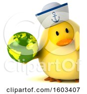 3d Yellow Bird Sailor Holding A Globe On A White Background