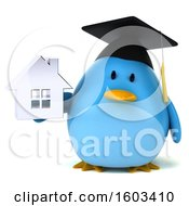 Clipart Of A 3d Chubby Blue Bird Graduate Holding A House On A White Background Royalty Free Illustration
