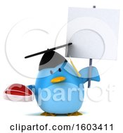Clipart Of A 3d Chubby Blue Bird Graduate Holding A Steak On A White Background Royalty Free Illustration