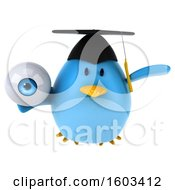 Clipart Of A 3d Chubby Blue Bird Graduate Holding An Eyeball On A White Background Royalty Free Illustration