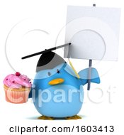 Clipart Of A 3d Chubby Blue Bird Graduate Holding A Cupcake On A White Background Royalty Free Illustration