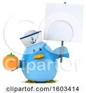 Clipart Of A 3d Blue Bird Sailor Holding An Orange On A White Background Royalty Free Illustration