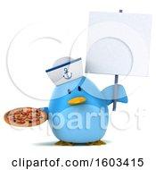 Clipart Of A 3d Blue Bird Sailor Holding A Pizza On A White Background Royalty Free Illustration
