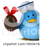 Poster, Art Print Of 3d Blue Bird Sailor Holding A Chocolate Egg On A White Background