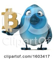 3d Blue Bird Holding A Bitcoin Symbol On A White Background