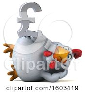 3d White Chicken Holding A Lira On A White Background