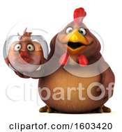 3d Chubby Brown Chicken Holding A Fish Bowl On A White Background