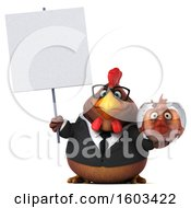 3d Brown Business Chicken Holding A Fish Bowl On A White Background