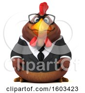 Clipart Of A 3d Brown Business Chicken On A White Background Royalty Free Illustration by Julos