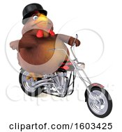 3d Chubby Brown Chicken Biker Riding A Chopper Motorcycle On A White Background