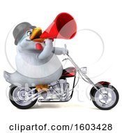 Clipart Of A 3d White Chicken Biker Riding A Chopper Motorcycle On A White Background Royalty Free Illustration
