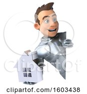 Poster, Art Print Of 3d Caucasian Male Armored Knight Holding A House On A White Background