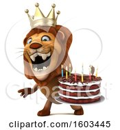 Poster, Art Print Of 3d King Lion Holding A Birthday Cake On A White Background