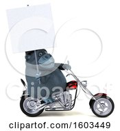 Clipart Of A 3d Gorilla Biker Riding A Chopper Motorcycle On A White Background Royalty Free Illustration