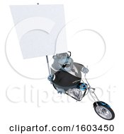 Clipart Of A 3d Business Gorilla Biker Riding A Chopper Motorcycle On A White Background Royalty Free Illustration by Julos