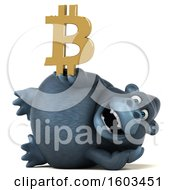Clipart Of A 3d Gorilla Holding A Bitcoin Symbol On A White Background Royalty Free Illustration by Julos