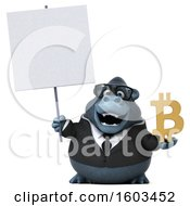 Poster, Art Print Of 3d Business Gorilla Holding A Bitcoin Symbol On A White Background
