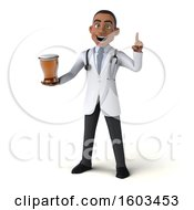 Poster, Art Print Of 3d Young Black Male Doctor Holding A Beer On A White Background