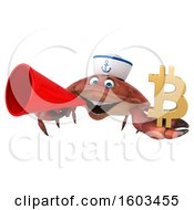 Poster, Art Print Of 3d Sailor Crab Holding A Bitcoin Symbol On A White Background
