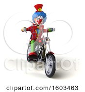 3d Colorful Clown Riding A Chopper Motorcycle On A White Background