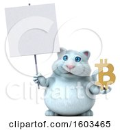 Poster, Art Print Of 3d White Kitty Cat Holding A Bitcoin Symbol On A White Background