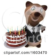 3d Brown Business Bear Holding A Birthday Cake On A White Background