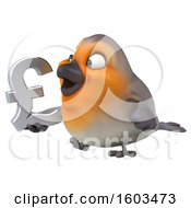Poster, Art Print Of 3d Robin Bird Holding A Lira Symbol On A White Background