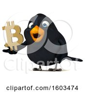 Poster, Art Print Of 3d Black Bird Holding A Bitcoin Symbol On A White Background