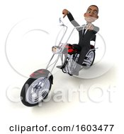 3d Black Business Man Biker Riding A Chopper Motorcycle On A White Background