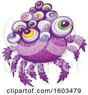 Cartoon Purple Monstrous Spider With Colorful Eyeballs