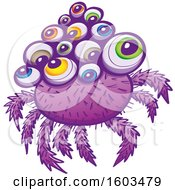 Clipart Of A Cartoon Purple Monstrous Spider With Colorful Eyeballs Royalty Free Vector Illustration