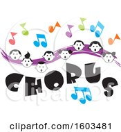 Purple Wave With Faces Of Happy Children And Music Notes Over Chorus Text