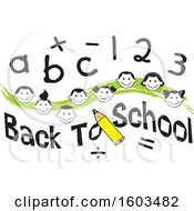 Clipart Of A Green Wave With Faces Of Happy Children With Numbers And Letters Over Back To School Text Royalty Free Vector Illustration