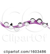 Clipart Of A Purple Wave With Faces Of Happy Children Royalty Free Vector Illustration