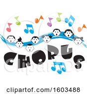Blue Wave With Faces Of Happy Children And Music Notes Over Chorus Text