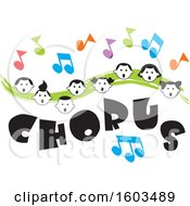Green Wave With Faces Of Happy Children And Music Notes Over Chorus Text