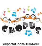 Clipart Of An Orange Wave With Faces Of Happy Children And Music Notes Over Chorus Text Royalty Free Vector Illustration