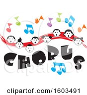 Clipart Of A Red Wave With Faces Of Happy Children And Music Notes Over Chorus Text Royalty Free Vector Illustration